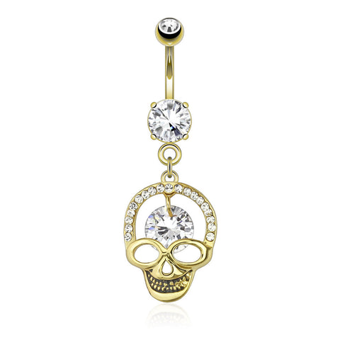 Dangling Belly Ring. High End Belly Rings. Kapala Smiling Skull Dangly Navel Ring