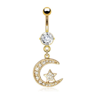 Golden Lunar Crescent Belly Dangle - Dangling Belly Ring. Navel Rings Australia.
