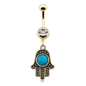 Golden Boho Turquoise Hamsa Navel Piercing Bar - Dangling Belly Ring. Navel Rings Australia.