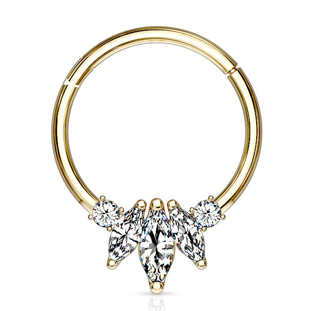 Marquise Septum Daith Clicker In Yellow Gold 16g Septum