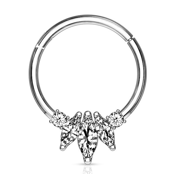 Marquise Septum & Daith Clicker in White Gold - Septum. Navel Rings Australia.