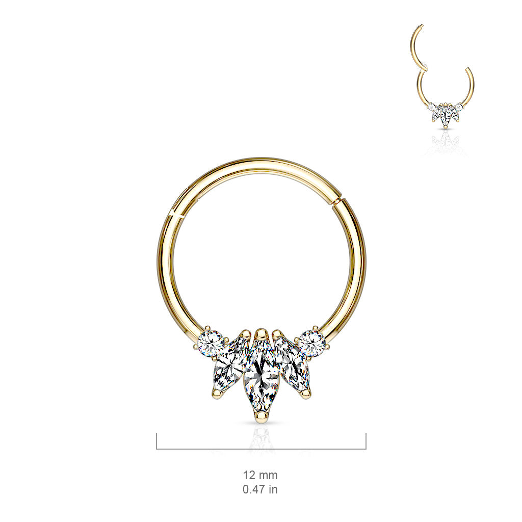 Septum. Quality Belly Rings. Marquise Septum & Daith Clicker in 14K Gold