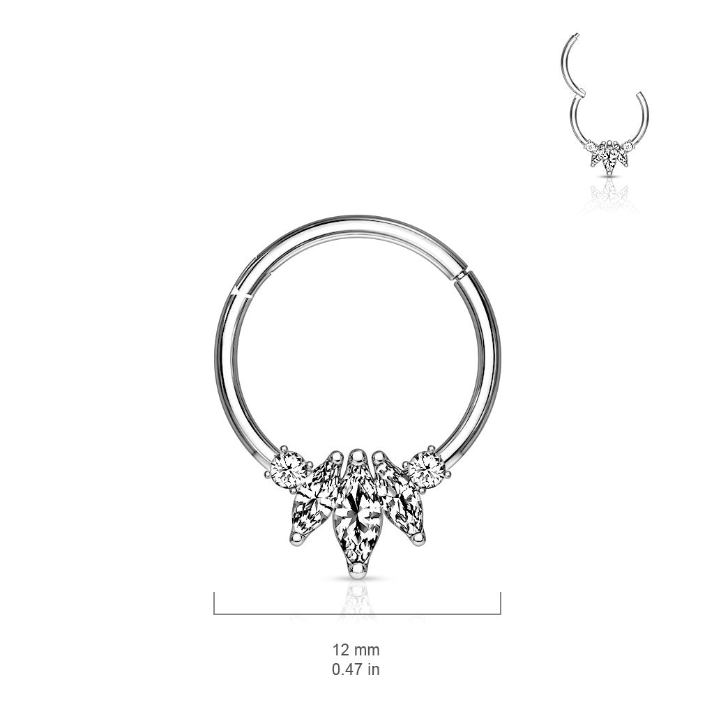 Septum. Buy Belly Rings. Marquise Septum & Daith Clicker in White Gold