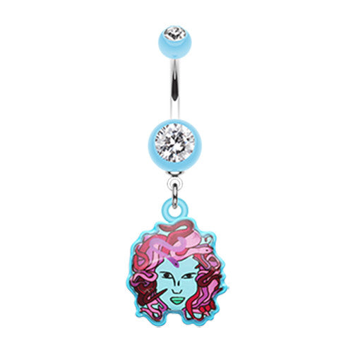 Mystical Face Of Medusa Dangly Navel Bar - Dangling Belly Ring. Navel Rings Australia.