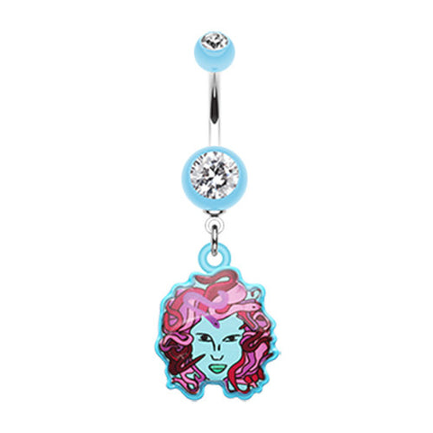 Dangling Belly Ring. High End Belly Rings. Mystical Face Of Medusa Dangly Navel Bar