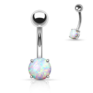 Sabella Prong Opal Belly Ring - Basic Curved Barbell. Navel Rings Australia.