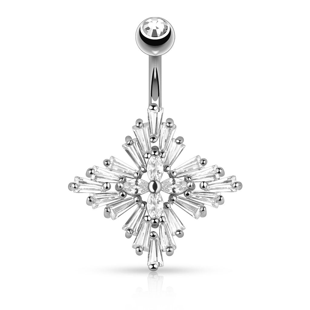 Lucilla Empress Belly Button Ring - Fixed (non-dangle) Belly Bar. Navel Rings Australia.