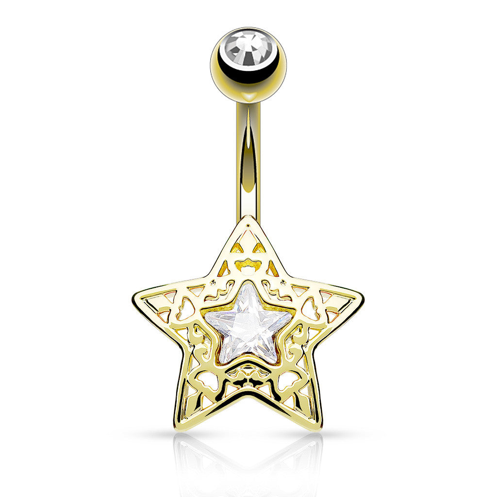Golden Filigree Crystal Star Belly Bar - Fixed (non-dangle) Belly Bar. Navel Rings Australia.