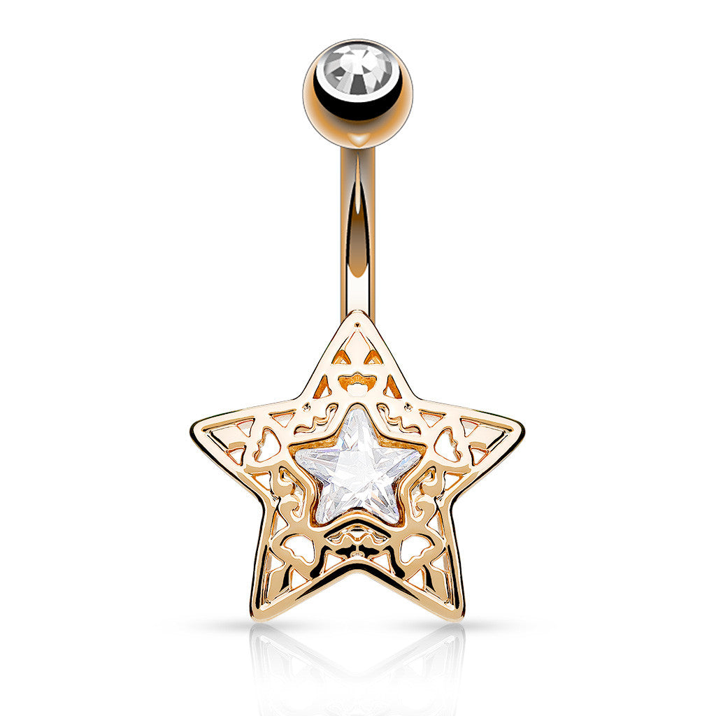 Rose Gold Filigree Crystal Star Belly Bar - Fixed (non-dangle) Belly Bar. Navel Rings Australia.
