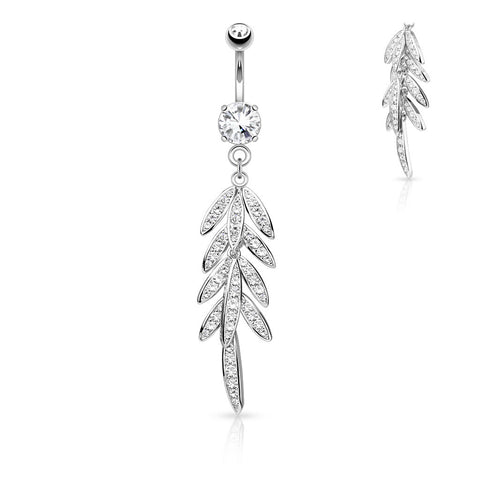 Dangling Belly Ring. Cute Belly Rings. Autumn Falls Petiole Navel Bar