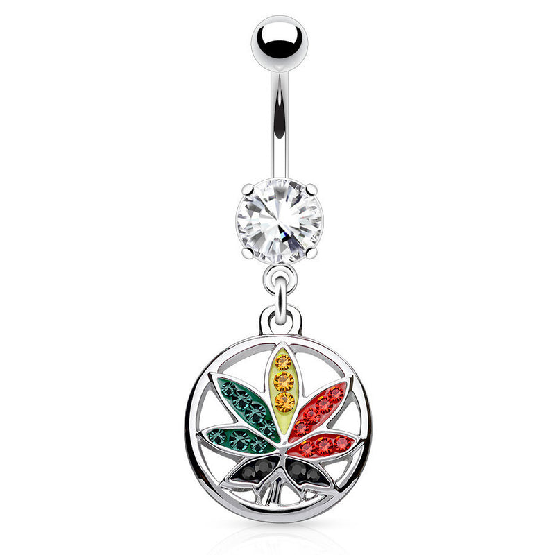 Vivid Rainbow Mary J Belly Ring - Dangling Belly Ring. Navel Rings Australia.