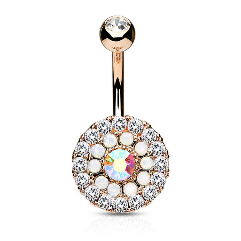 Juliet's Rose Gold Triple Tiered Belly Button Bar - Fixed (non-dangle) Belly Bar. Navel Rings Australia.