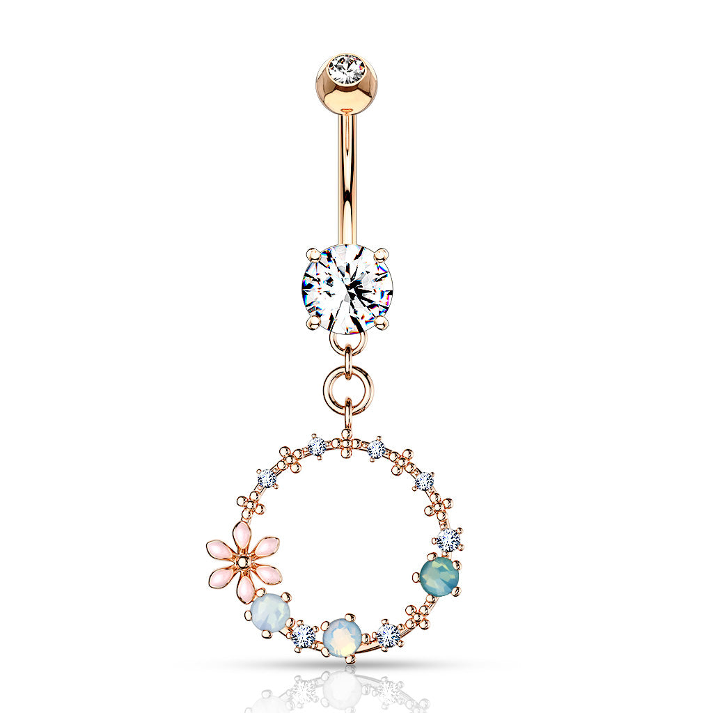 Clear Pave Crystal Long Dangle Bars Navel Bar Piercing Rose Gold Plated 10mm