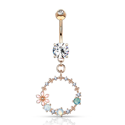 Apricot Cubic Zirconia Teardrop Navel Ring