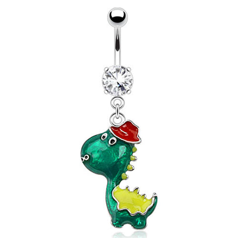 Dangling Belly Ring. Belly Rings Australia. Rex The Top Hat Dino Belly Ring