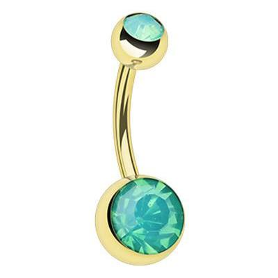 Classique Opaline Belly Rings in Gold - Basic Curved Barbell. Navel Rings Australia.