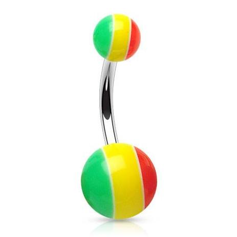 Basic Rasta Stripe Navel Piercing Bar - Basic Curved Barbell. Navel Rings Australia.