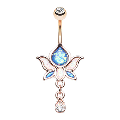 Golden Saraswati Lotus Flower Navel Ring - Dangling Belly Ring. Navel Rings Australia.