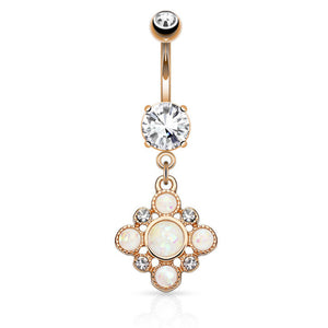 Gypsy Soul Opal Belly Drop in Rose Gold - Dangling Belly Ring. Navel Rings Australia.