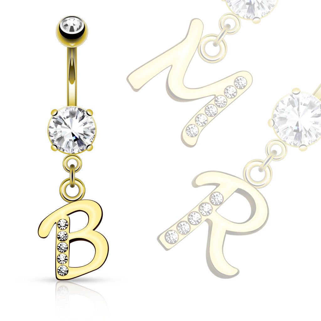 Initial Navel Jewellery in Gold - Dangling Belly Ring. Navel Rings Australia.