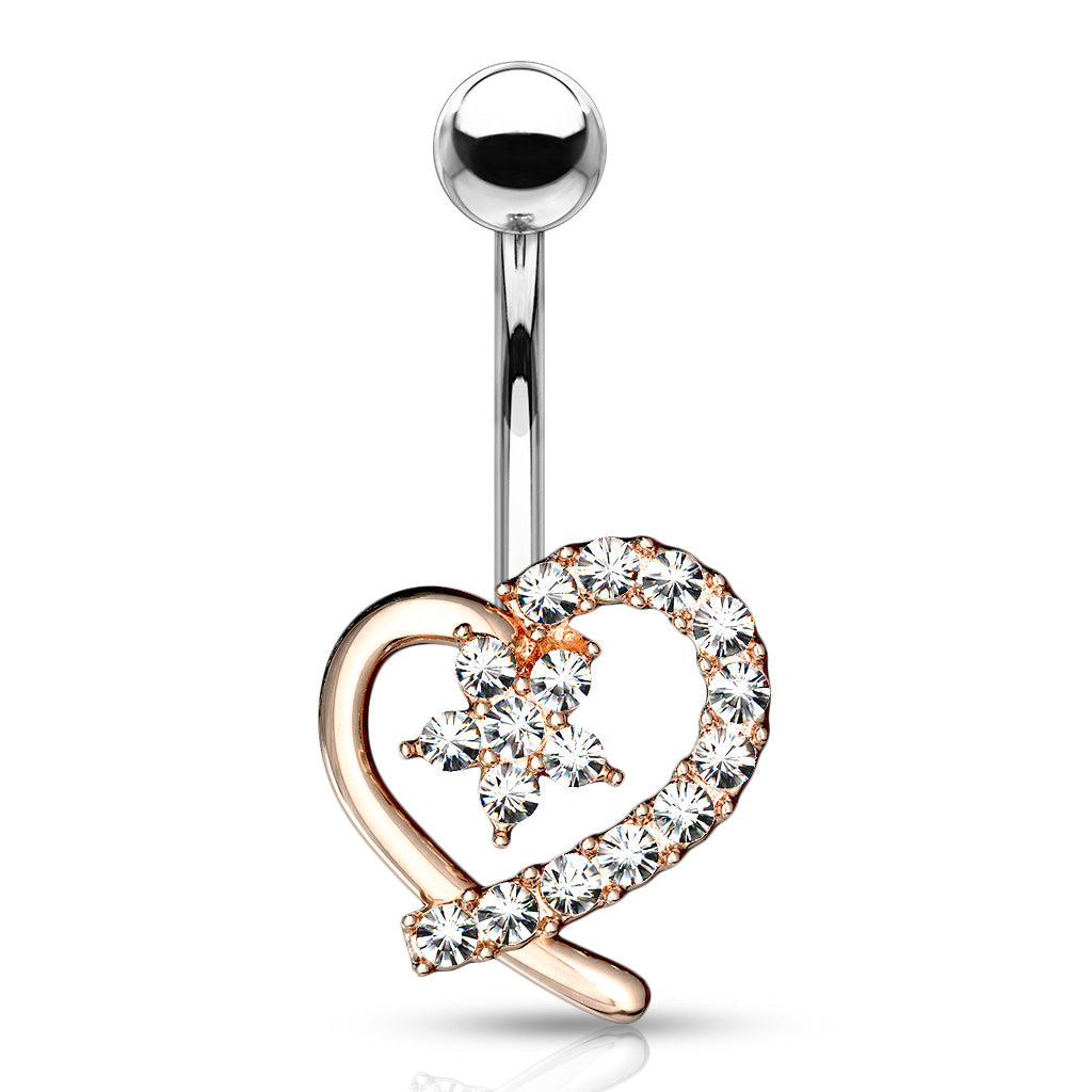 Lost in Love Belly Bar in Rose Gold - Fixed (non-dangle) Belly Bar. Navel Rings Australia.