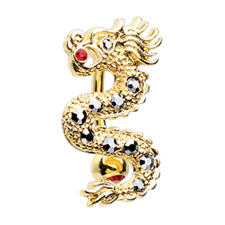 Reverse Top Down Belly Ring. Shop Belly Rings. Golden Festival Dragon Belly Bar