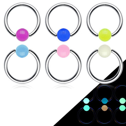 Captive Belly Ring. Navel Rings Australia. GLOW in the Dark Captive Ball Steel Navel Ring