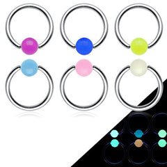 GLOW in the Dark Captive Ball Steel Navel Ring