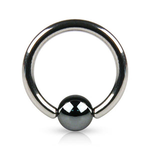 Hematite Titanium Ball Captive Navel Rings - Captive Belly Ring. Navel Rings Australia.