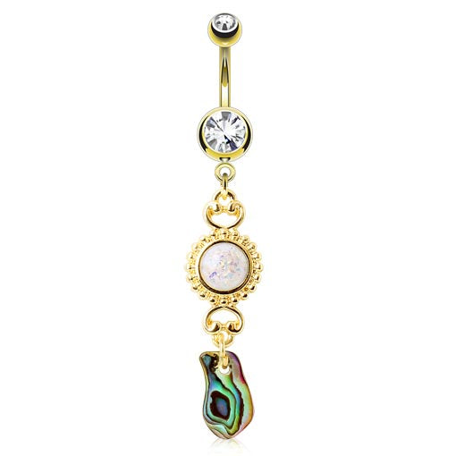 Ibiza Shelz Abalone Belly Ring - Dangling Belly Ring. Navel Rings Australia.