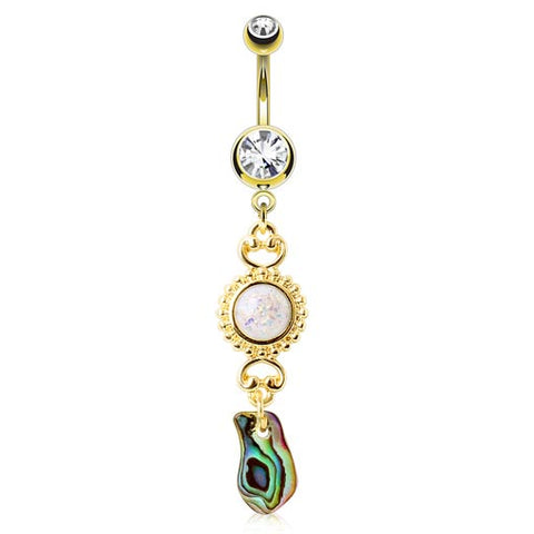 Dangling Belly Ring. Quality Belly Bars. Ibiza Shelz Abalone Belly Ring