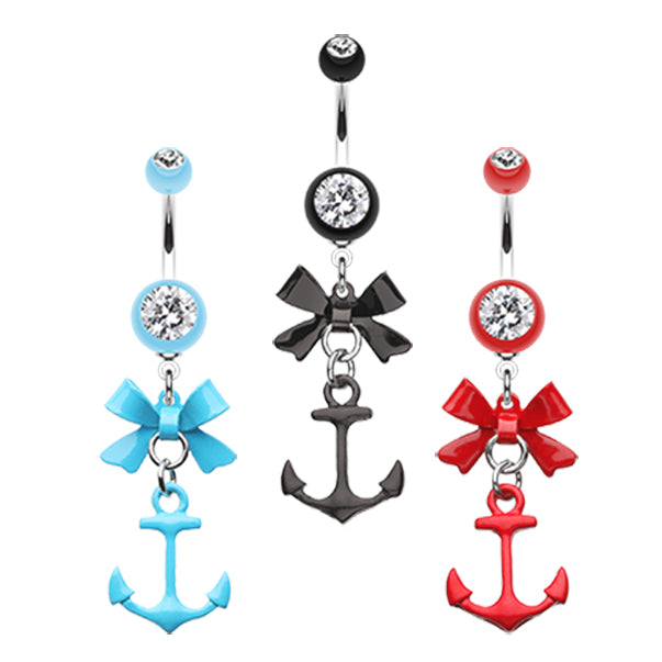 Party Boat Anchor Navel Ring - Dangling Belly Ring. Navel Rings Australia.