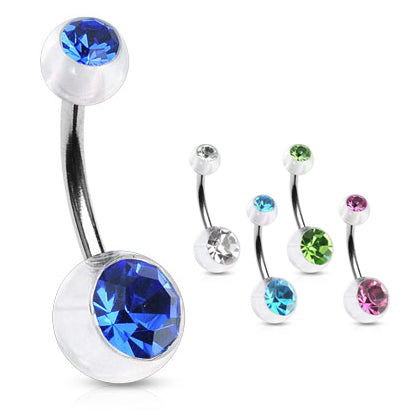 Translucent Duo Gem Acrylic Belly Bar - Basic Curved Barbell. Navel Rings Australia.