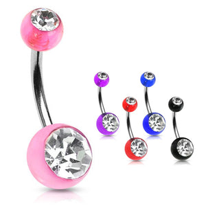 The Classic Duo Gem Acrylic Belly Rings - Basic Curved Barbell. Navel Rings Australia.
