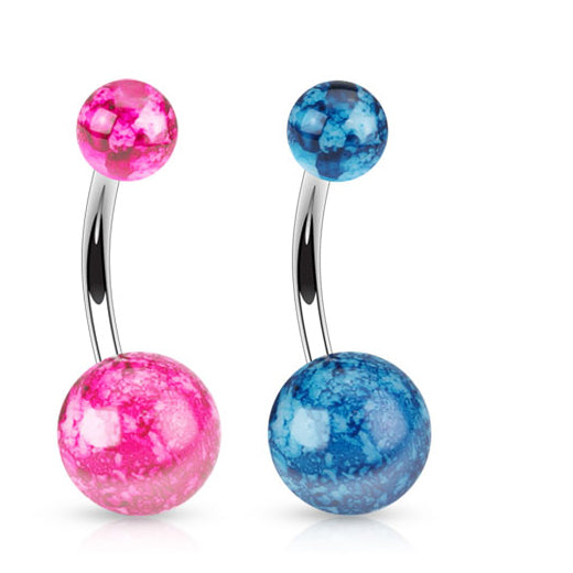 Pearly Splatter Paint Acrylic Belly Ring - Basic Curved Barbell. Navel Rings Australia.