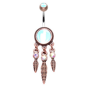 Rosies Mystique Dream Catcher Belly Ring - Dangling Belly Ring. Navel Rings Australia.