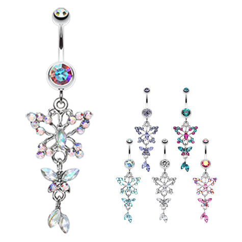 Dangling Belly Ring. Belly Rings Australia. The Albatross Buttterfly Navel Ring