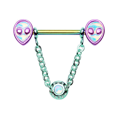 Metallic Chained Alien Nipple Ring - Nipple Ring. Navel Rings Australia.