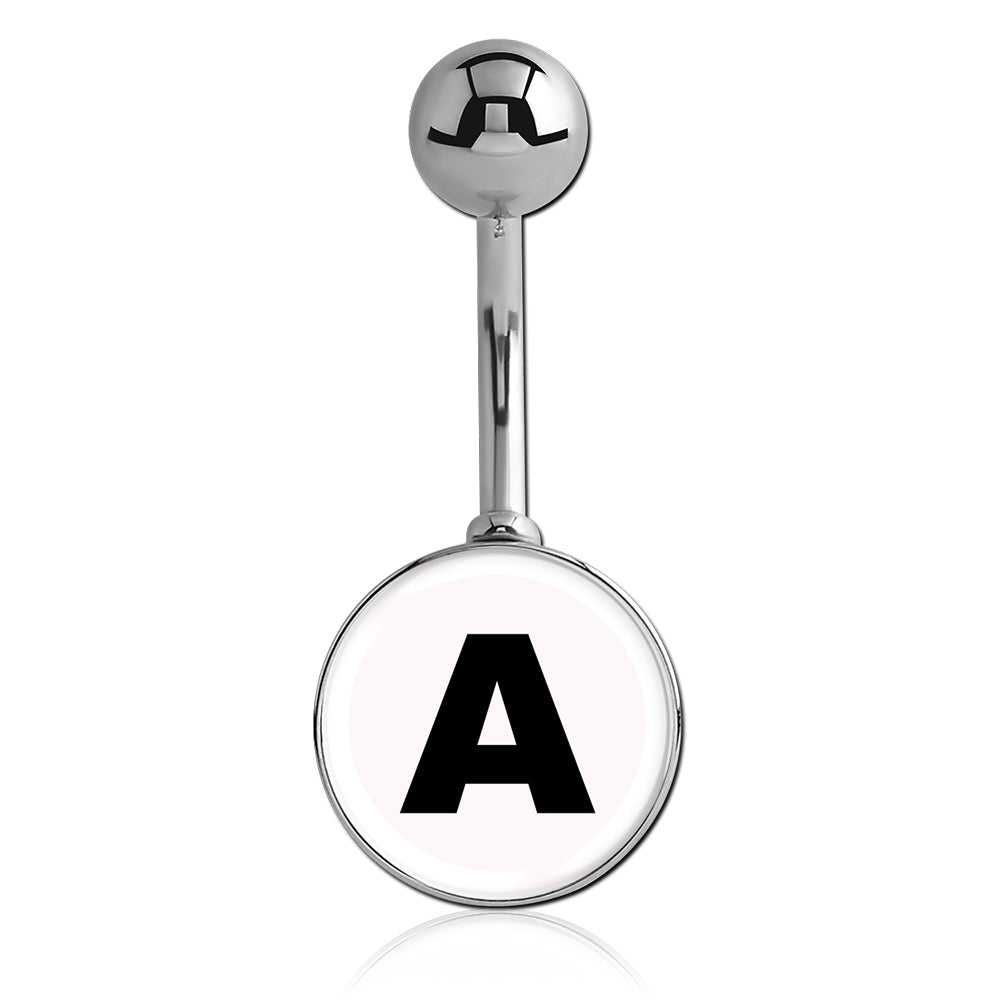Basic Curved Barbell. Belly Rings Australia. Printed Alphabet Letter Initial Belly Bars