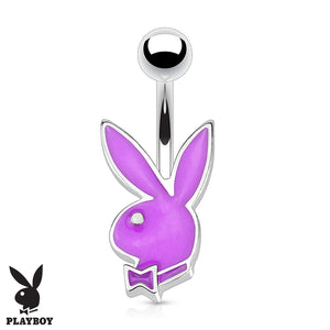 16G Official Playboy Bunny Belly Rings - Fixed (non-dangle) Belly Bar. Navel Rings Australia.