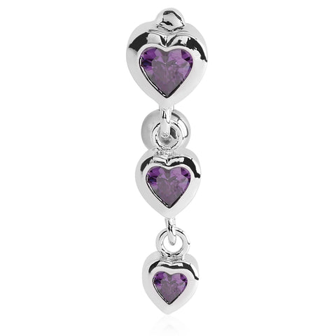 Amethyst Bellè Heart Drop Belly Button Ring