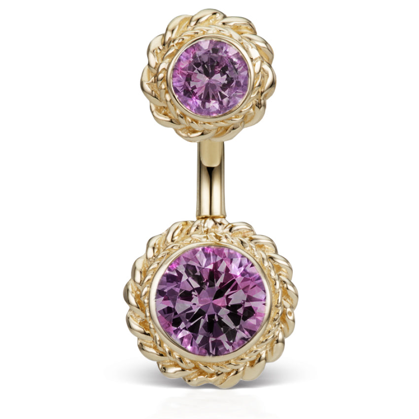 Genuine Amethyst 14K Yellow Gold Braid Solitaire Belly Ring by Maria Tash - Fixed (non-dangle) Belly Bar. Navel Rings Australia.