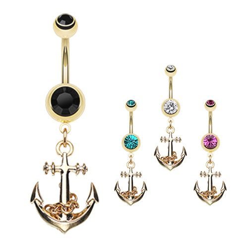 Boating Babes Anchor Belly Bar in Gold - Dangling Belly Ring. Navel Rings Australia.