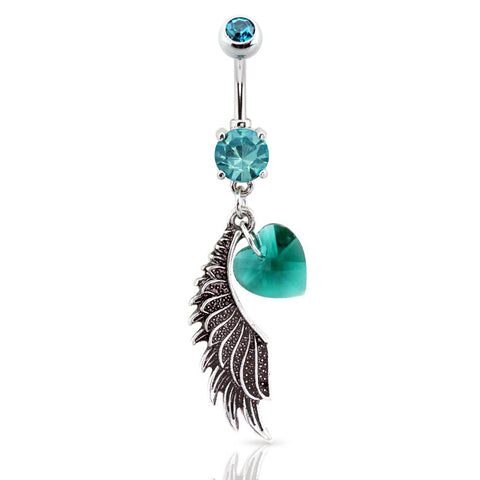 Dangling Belly Ring. Navel Rings Australia. Lover's Mystique Angel Wing Belly Bar