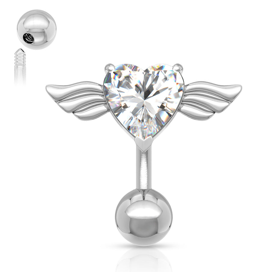 Reverse Top Down Belly Ring. Belly Bars Australia. Reverse Angel Wing Heart Belly Ring