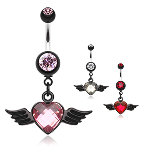 Dangling Belly Ring. Belly Bars Australia. Iridescent Angel Wing Navel Ring