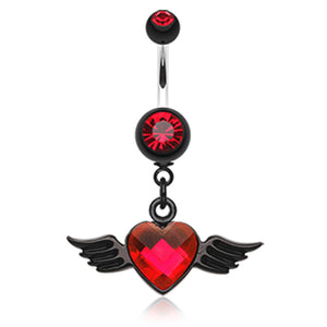 Iridescent Angel Wing Navel Ring - Dangling Belly Ring. Navel Rings Australia.