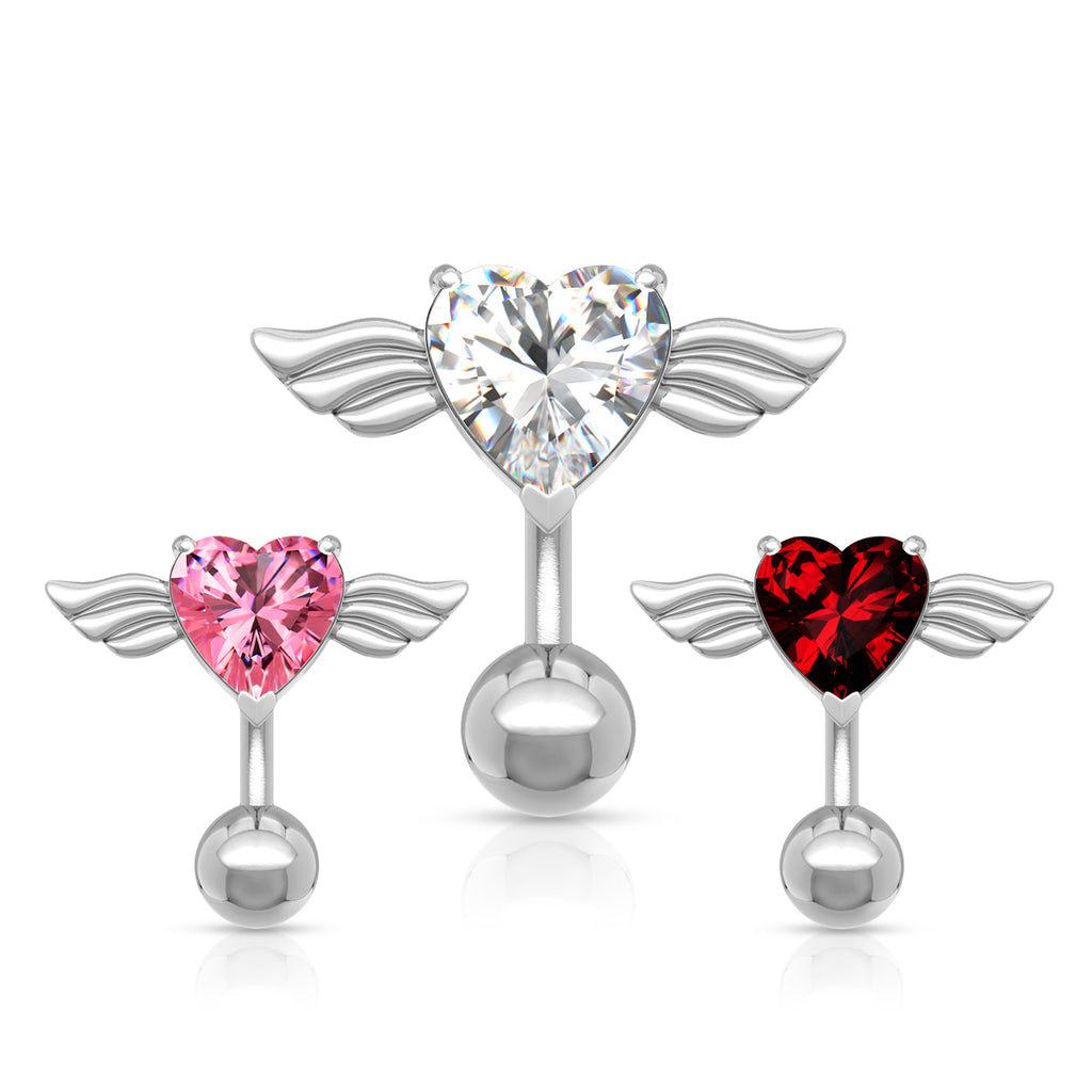 Reverse Angel Wing Heart Belly Ring - Reverse Top Down Belly Ring. Navel Rings Australia.