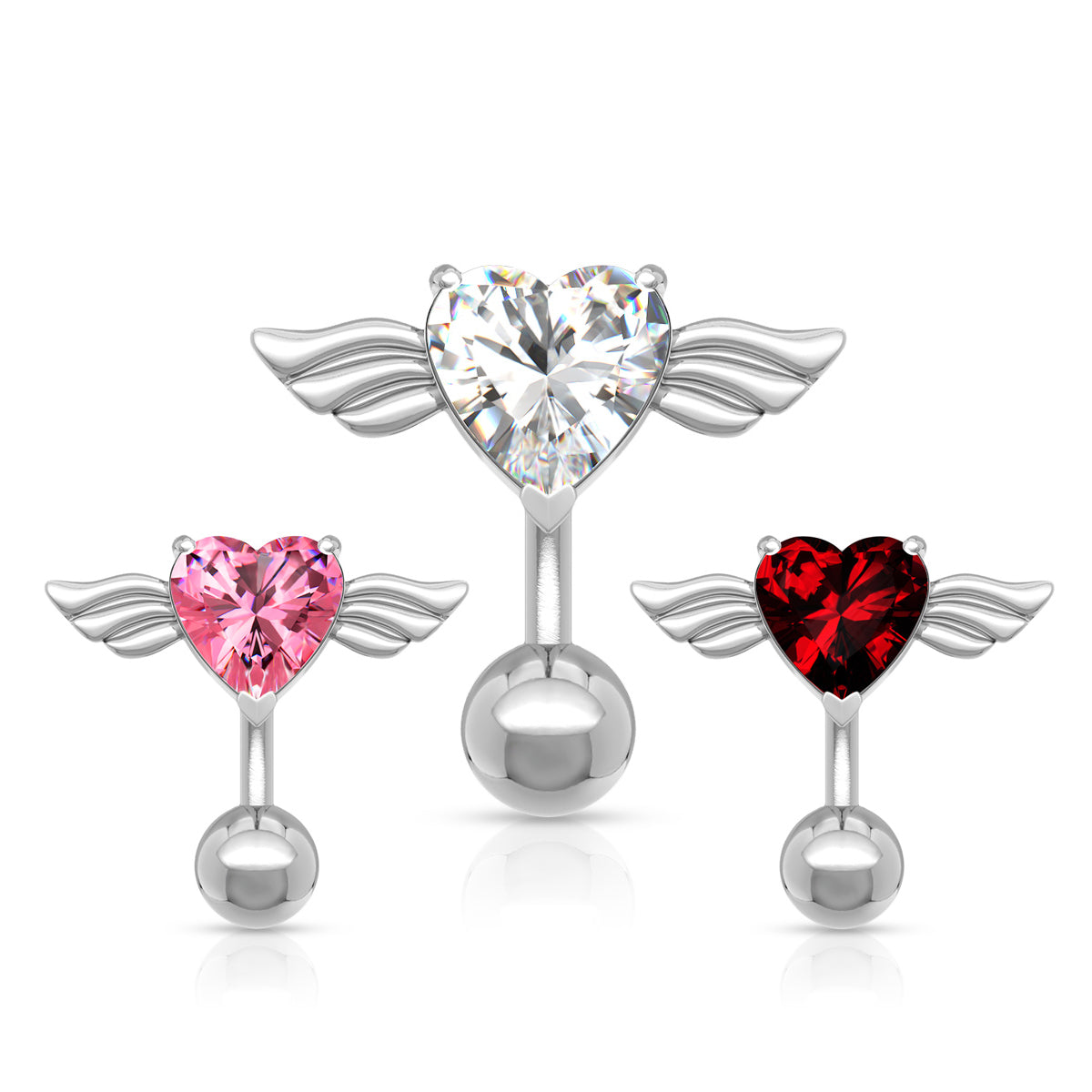 Top Down Angel Winged 8mm Heart CZ Navel Belly Ring