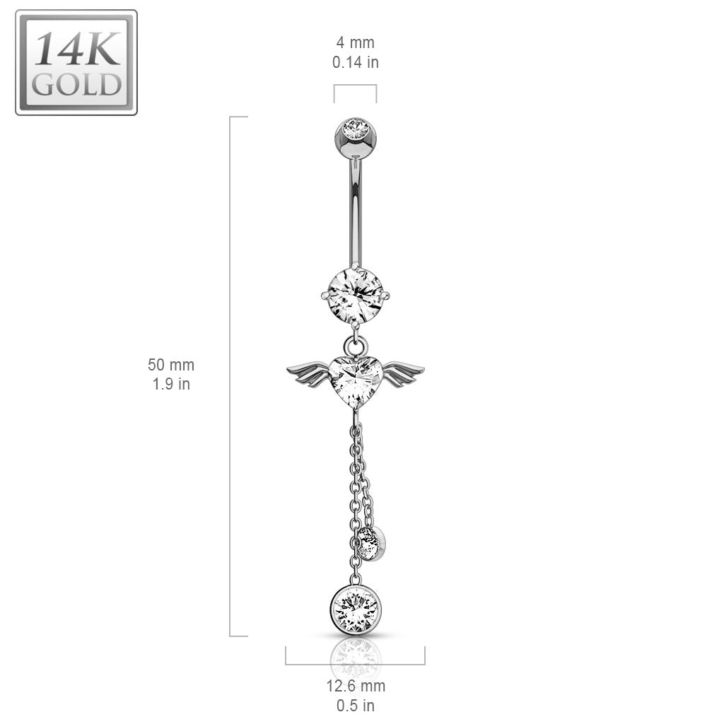 Dangling Belly Ring. Cute Belly Rings. Gabriel Angel Heart 14K White Gold Belly Bar